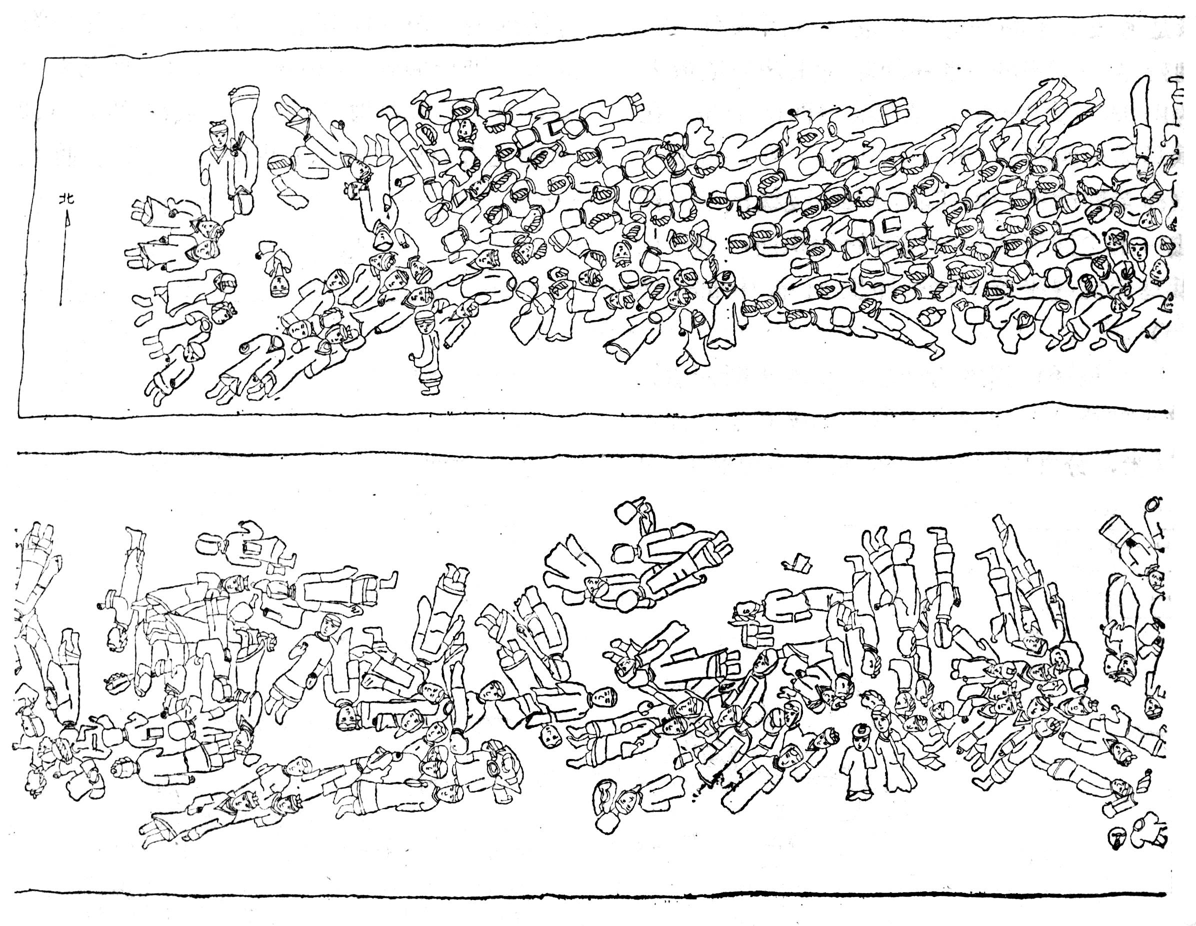 徐州狮子山兵马俑坑第一次发掘简报 徐州博物馆 1984年12月初,江苏省徐州市砖瓦厂在东郊狮子山西簏取土,发现了古代彩绘陶兵马俑。徐州博物馆随即进行了现场调查,了解到这里是一处兵马俑坑。  图一:狮子山兵马俑坑位置示意图  图二:俑坑东南200米处采土场黄河泛滥淤积层剖面图 1、废土层 2、耕土层(黑褐色)3、黄河淤沙土层 4、黄褐色淤沙土层 5、黄沙淤积土层 6、黄沙泥层 7、黄沙淤土层 8、黑色淤沙土层(河相沉积)9、黏土层(黄红褐色)10、生土层 狮子山为一东西走向的石灰岩山包,海拔61米。其北约1